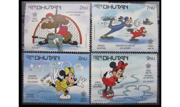"""Бутан 1988 г. """"Зимние Олимпийские игры, Калгари, Уолт Дисней"""""""