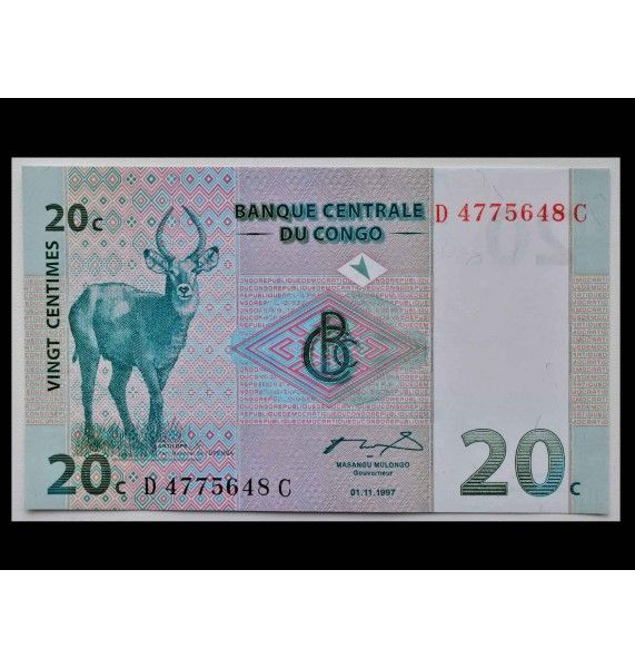 ДР Конго 20 сантимов 1997 г.