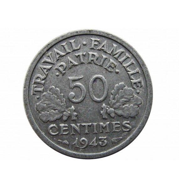 Франция 50 сантимов 1943 г.