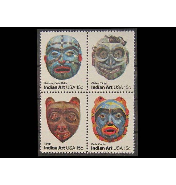 """США 1980 г. """"Американское народное искусство: Индейские маски"""""""