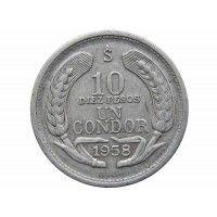 Чили 10 песо (1 кондор) 1958 г.