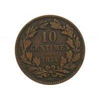 Люксембург 10 сантимов 1854 г.