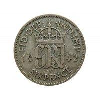Великобритания 6 пенсов 1942 г.
