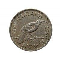 Новая Зеландия 6 пенсов 1957 г.