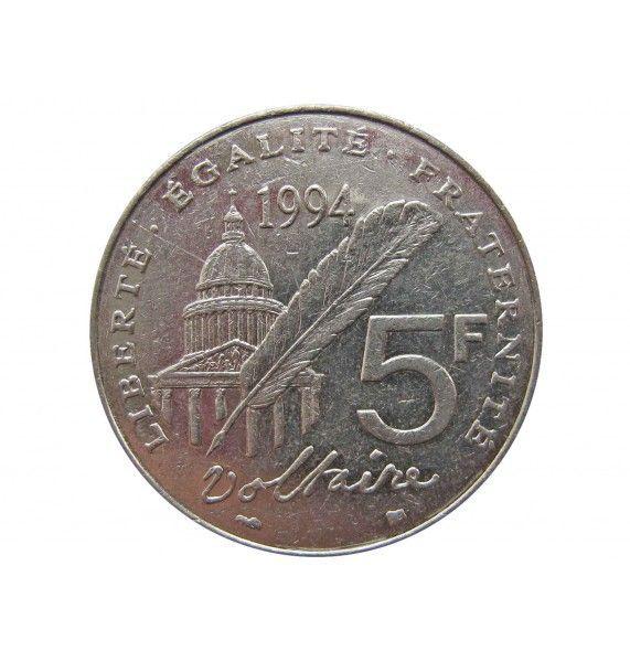 Франция 5 франков 1994 г. (300 лет со дня рождения Вольтера)