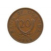 Уганда 20 центов 1966 г.