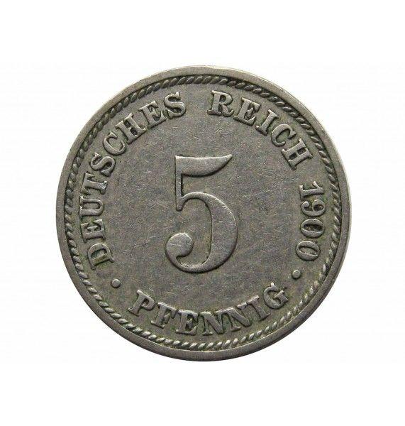 Германия 5 пфеннигов 1900 г. D