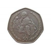 Остров Мэн 50 пенсов 1997 г. (Мотогонки Tourist Trophy) AA