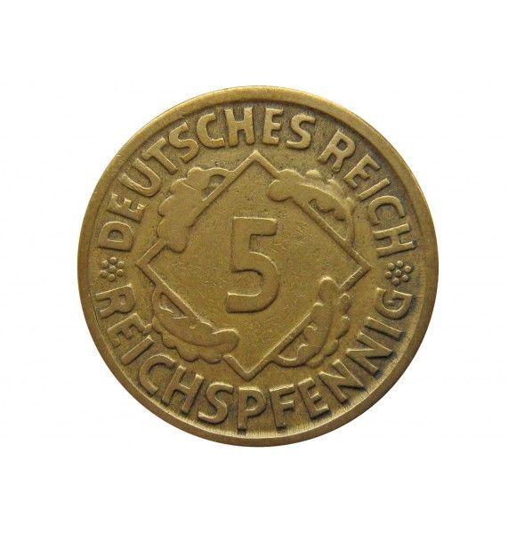 Германия 5 пфеннигов (reichs) 1925 г. D