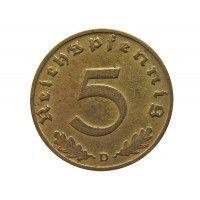 Германия 5 пфеннигов 1938 г. D
