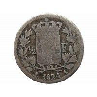 Франция 1/2 франка 1824 г. A