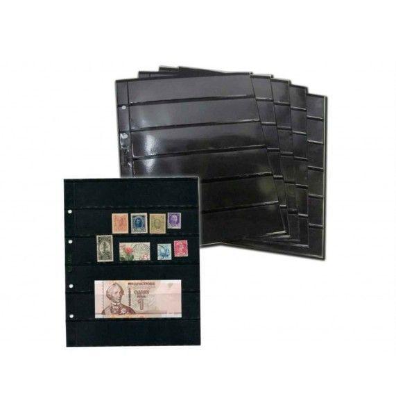 """Лист для хранения почтовых марок на 6 ячеек, двухсторонний. Формат """"OPTIMA""""."""