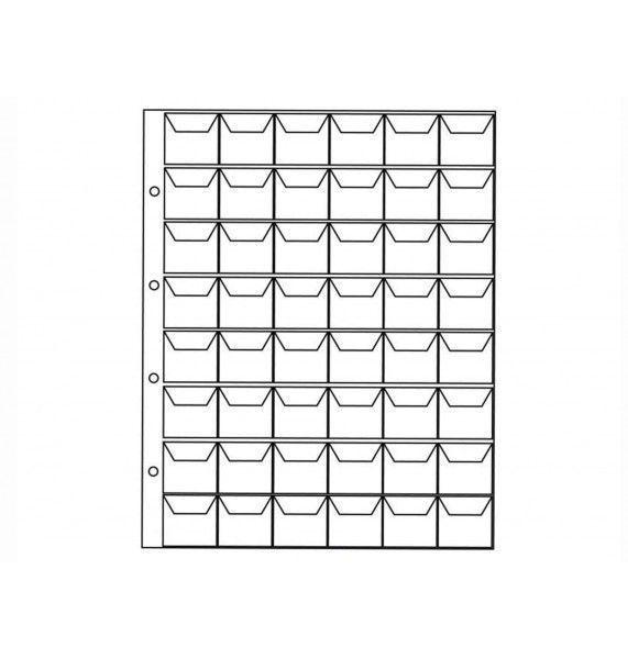 """Лист для хранения монет на 48 ячеек с """"клапанами"""", формат """"OPTIMA""""."""