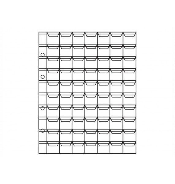 """Лист для хранения монет на 70 ячеек с """"клапанами"""", формат """"OPTIMA""""."""