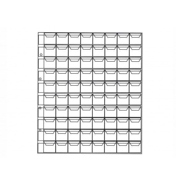 """Лист для хранения монет на 80 ячеек с """"клапанами"""", формат """"OPTIMA""""."""