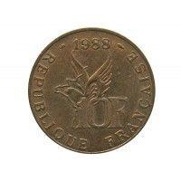 Франция 10 франков 1988 г. (100 лет со дня рождения Ролана Гарроса)