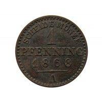 Пруссия 1 пфенниг 1868 г. А