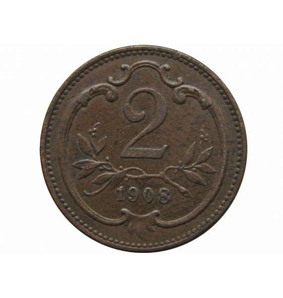 Австрия 2 геллера 1908 г.