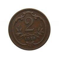 Австрия 2 геллера 1914 г.