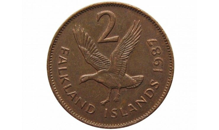 Фолклендские острова 2 пенса 1987 г.