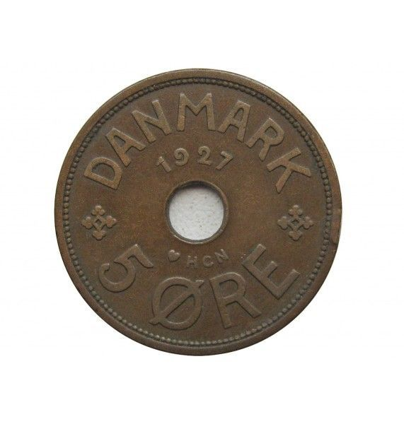 Дания 5 эре 1927 г. HCN GJ