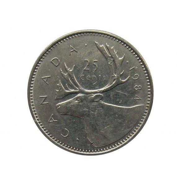 Канада 25 центов 1984 г.