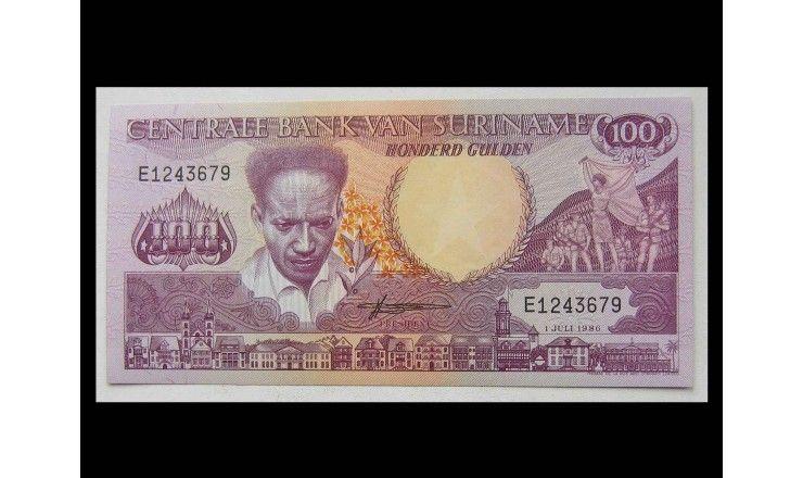 Суринам 100 гульденов 1986 г.