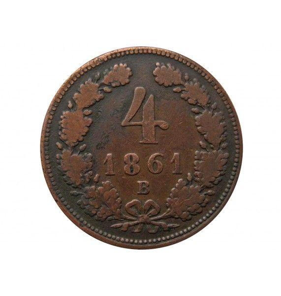 Австрия 4 крейцера 1861 г. B