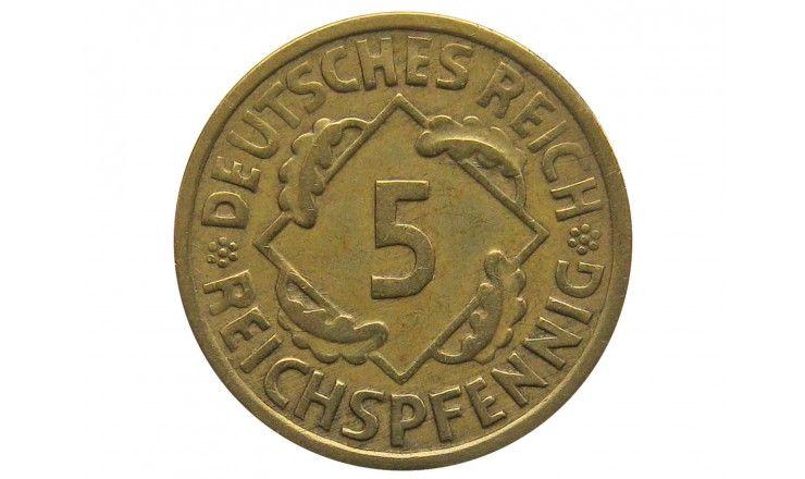 Германия 5 пфеннигов (reichs) 1925 г. E