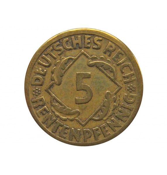 Германия 5 пфеннигов (renten) 1924 г. F