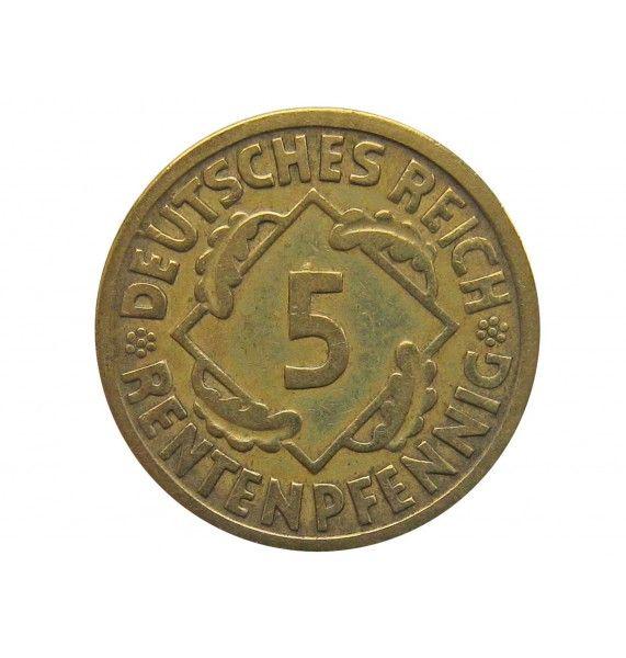 Германия 5 пфеннигов (renten) 1924 г. J