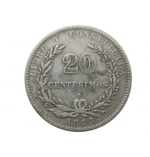 Уругвай 20 сентесимо 1893 г.