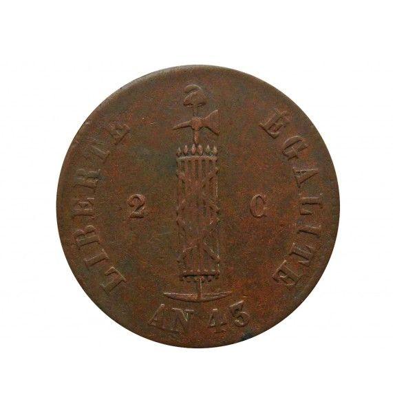 Гаити 2 сантима 1846 г. (большая = 26 mm)