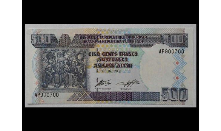 Бурунди 500 франков 2003 г.