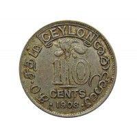 Цейлон 10 центов 1908 г.