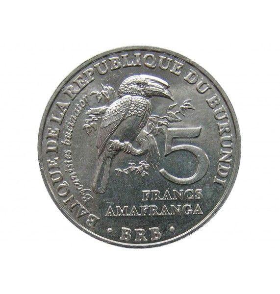 Бурунди 5 франков 2014 г. (Калао-трубач)
