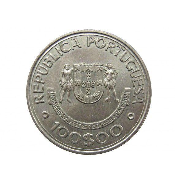 Португалия 100 эскудо 1989 г. (Открытие Канарских островов)