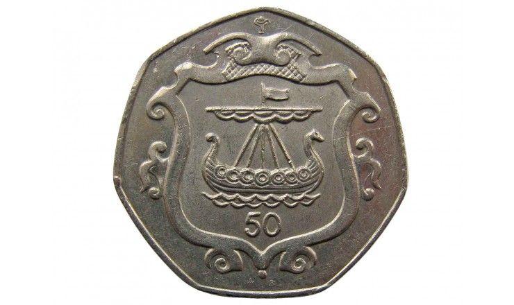 Остров Мэн 50 пенсов 1985 г. AB