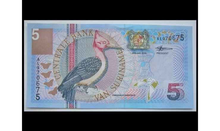 Суринам 5 гульденов 2000 г.