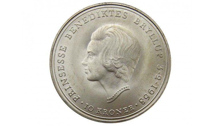 Дания 10 крон 1968 г. (Свадьба Принцессы Бенедикты)