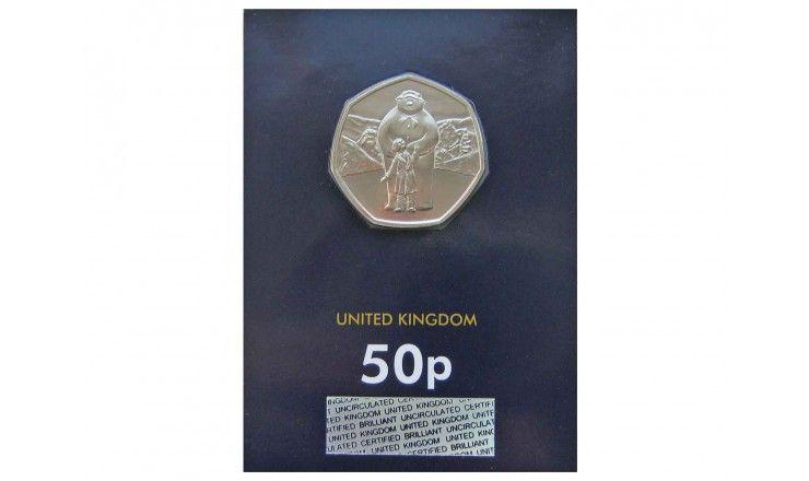 Великобритания 50 пенсов 2019 г. (Снеговик) блистер