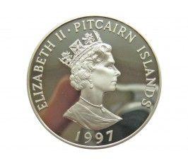 Острова Питкэрн 5 долларов 1997 г. (Королева-мать - Орден Подвязки)