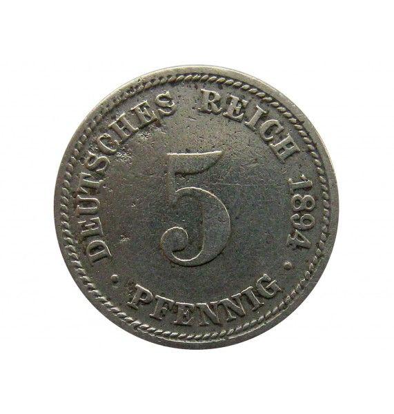 Германия 5 пфеннигов 1894 г. D