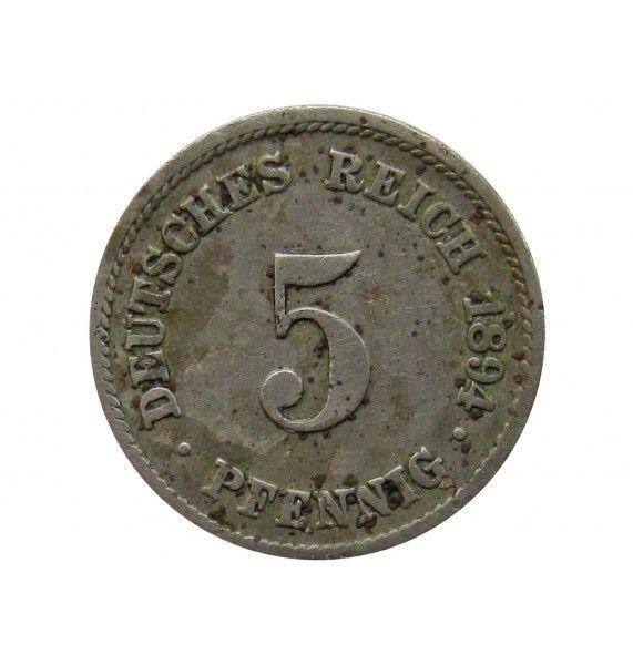 Германия 5 пфеннигов 1894 г. F