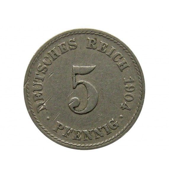 Германия 5 пфеннигов 1904 г. F