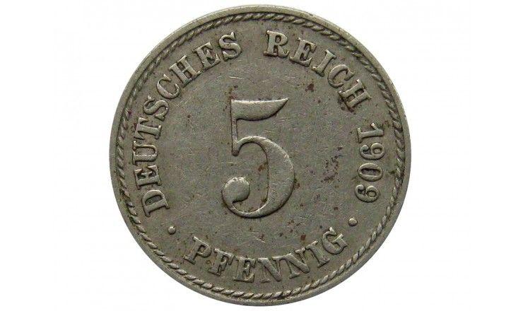 Германия 5 пфеннигов 1909 г. A