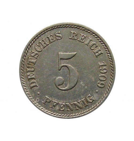 Германия 5 пфеннигов 1909 г. J