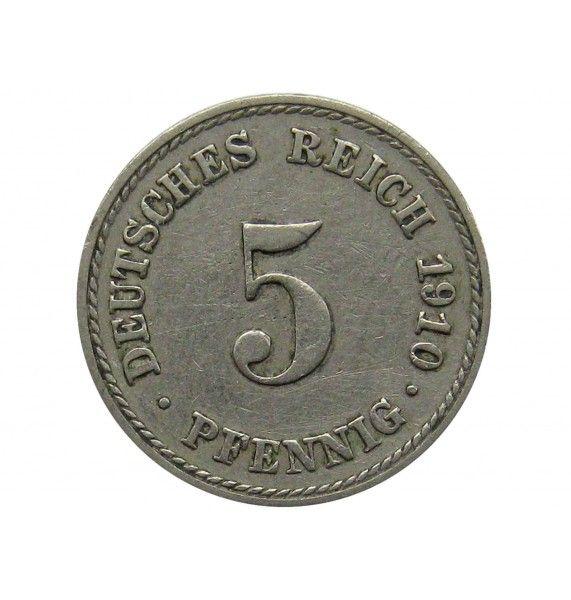 Германия 5 пфеннигов 1910 г. F