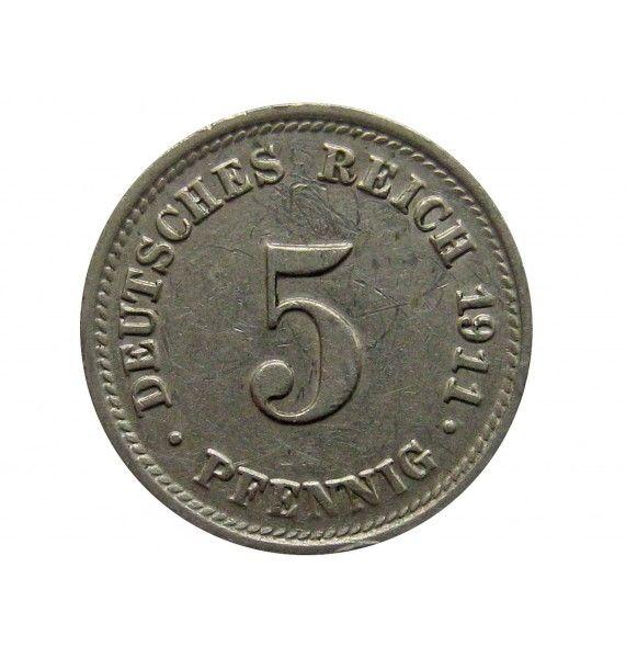 Германия 5 пфеннигов 1911 г. D
