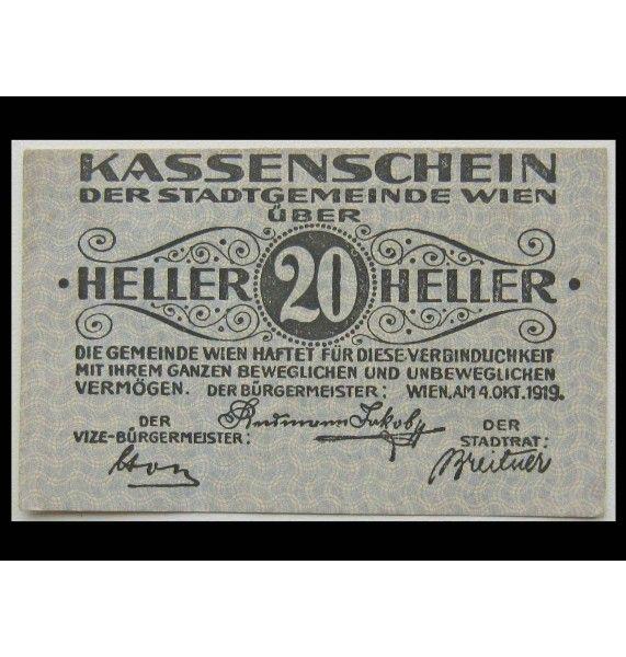 Вена 20 геллеров 1919 г.